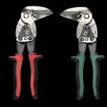 Padidintos sverinės galios žirklės skardai, 200mm, 90°  kampu, dėšininės, išlenktos