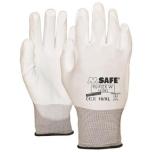 Nylon gloves with polyurethane coating M-Safe PU-Flex W, white, size 9/L