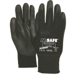 Nylon gloves with polyurethane coating M-Safe PU-Flex B, black, size 6/XS