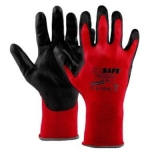 Nylon gloves with polyurethane coating M-Safe Glove PU-light, extra thin, black/red, size 7/S