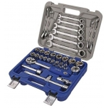 "Sockets 8-32mm and ratcheting combination wrenches 8-19mm set 1/2"" 33 pcs Irimo"
