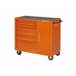 Tool trolley on wheels 1470K with 6 drawers and side cabinet 1016x501x1020mm orange