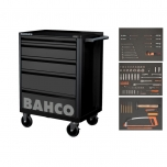 Black tool trolley on wheels E72 with 5 drawers 675x500x950mm and with 147 tools