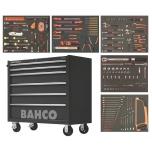 Įrankių vežimėlis ant ratų Bahco C75, 5 stalčiai+ spintelė, sukomplektuotas, juodas, 191 įrankis, 986x501x1100mm