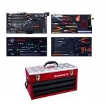 "Aviation MRO mechanics tools in foam set 134 pcs in HD metal ridgid case 300x257x523 mm, inch sizes 1/4"" and 3/8"""