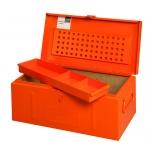 Metalinė įrankių dėžė su išimamu įdėklu, tvirta konstrukcija 690x360x310mm RAL2004