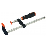 Professional type F clamp 420SH 140x400mm with heavy duty handle and plastic-covered ball-swivel foot for secure and easy clamping of odd shapes