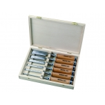 Chisels with wooden handle set 6, 10, 12, 18, 25 and 32mm 6 pcs in wooden box