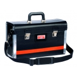 Front opening leather tool case with aluminium edges 440x160x270mm