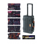 "Aviation MRO mechanics tools in foam set 240 pcs in HD ridgid case 267x365x560mm 31L on wheels, metric and inch sizes 1/4"" and 3/8"""