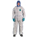 Disposable coverall Type 5/6 Ansell Alphatec 1800 Comfort, white/blue, beathable full back, size XL