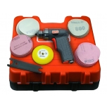 Pneumatic grinder with pistol handle, 77mm Velcro® pad included, 15000rpm 250W. Set with 70 discs