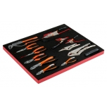 Pliers, circlips pliers and locking pliers set in foam 16 pcs
