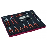 Pliers set (cutting + snipe nose + twisting + slip joint + grip) 12pcs in a foam