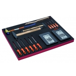 Tools set in foam 26 pcs (hammers, files, punches set 6 pcs, cold chisels set 6pcs, hooks set and wire brush)
