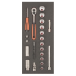 "3/8"" S-Line sockets and bits set 33pcs S330 Fit&Go 1/3 - ratchet - sockets 10-22mm - 2x extensions - flex joint - sparkplug sockets 16mm, 21mm - screwdriver handle - 13x bits"