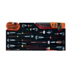 Screwdrivers, hex keys and bit set in foam inlay 53 pcs for boxes 1483K and 1483KHD