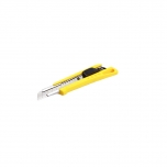 Ergonomic 18 mm auto blade lock cutter with in-handle blade storage, yellow, 3 blades