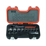 Pass-through socket set 10-24mm 14 pcs with flexible head ratchet