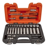 Short and long sockets set 10-22mm + bits PH,PZ,HEX,TORX 53 pcs 3/8""