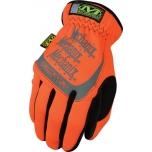 Pirštinės FAST FIT 99 HiViz oranžinės 9/M dydis. Rauktas rankogalis, dirbtinė oda, TrekDry®, šviesą atspindintys užrašai