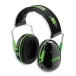 Earmuffs K1. SNR: 28dB, black/green. Soft head band. Ultra light - only 171 g.