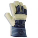 Safety gloves, Uvex Topgrade 8000, cowgrain leather, fabric cuff size 9