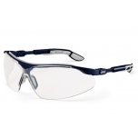Safety glasses Uvex i-vo, clear lens,  supravision plus (anti scratch, anti fog) coating,  bue/grey. Retail package.