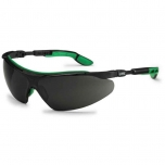 Safety glasses Uvex for welding i-vo, dark lens, shade 5, infradur AF coating,  black/green. Retail package.