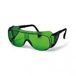 Safety glasses Uvex for welding Ultraspec, dark lens, shade 5, infradur Plus coating,  black/black. Retail package.