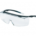 Safety glasses Uvex Super f OTG, clear panorama lens, supravision sapphire (anfi scratch on both sides) coating,  black/transparent. Suitable for use on ordinary prescription glasses.