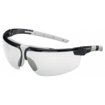 Safety glasses Uvex i-3, clear lens, supravision excellence (anfi scratch, anti fog) coating,  black/grey. Variable side arms angle,  adjustable nose piece.