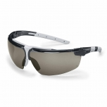 Safety glasses Uvex i-3, grey lens, supravision excellence (anfi scratch, anti fog) coating,  black/light grey. Variable side arms angle,  adjustable nose piece.