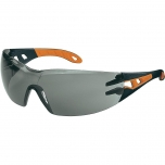 Safety glasses Uvex Pheos, grey lens, supravision excellence (anfi scratch, anti fog) coating,  black/orange. Retail package.