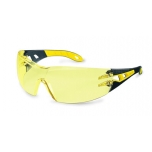 Safety glasses Uvex Pheos, amber lens, supravision excellence (anfi scratch, anti fog) coating,  black/yellow. Retail package.