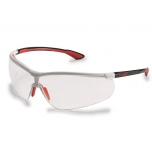 Safety glasses Uvex Uvex Sportstyle, clear lense, supravision extreme (anti scratch, anti fog) coating, white/red. Super light and comfortable. Retail package with microfibre bag.