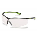 Safety glasses Uvex Uvex Sportstyle, clear lense, supravision extreme (anti scratch, anti fog) coating, black/lime. Super light and comfortable. Retail package with microfibre bag.