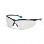 Safety glasses Uvex Uvex Sportstyle, clear lense, supravision extreme (anti scratch, anti fog) coating, black/blue. Super light and comfortable. Retail package with microfibre bag.