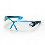Safety glasses Uvex Pheos CX2, clear lens, supravision excellence (anfi scratch, anti fog) coating,  black/light blue.