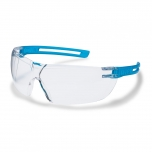 Safety glasses Uvex X-fit, clear lens, supravision excellence (anfi scratch, anti fog) coating. Blue translucent. NON RETAIL PACKAGE