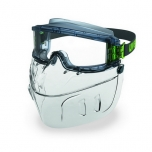 Safety goggles Uvex Ultravision with detachable face mask. PC clear lens, supravision excellence (anfi scratch, anti fog) coating. Rubber strap. Impact B class