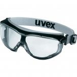 Safety goggles Uvex low profile Carbonvision, clear lens, supravision extreme (anfi scratch, anti fog) coating, black/grey. Rubber strap. Impact class B.
