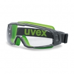 Safety goggles with perfect fit Uvex U-sonic, clear lens, supravision extreme (anfi scratch, anti fog) coating, grey/lime. Rubber strap. Impact class B.