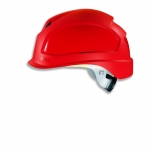 Safety helmet Pheos B-S-WR, Red, variable front/back ventilation, 55-61 cm. Textile harnes of 6 straps, short brim