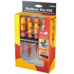 Wera Kraftform Plus 160i/165i/7 VDE 7-piece s/driver set + Rack & tester, LaserTip